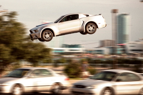 Just driving... Oh, I mean flying my Mustang.